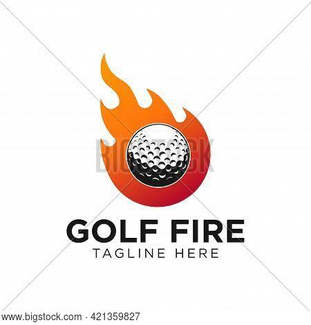 Golf Ball Fire Logo Template Design Vector, Emblem, Design Concept, Creative Symbol, Icon
