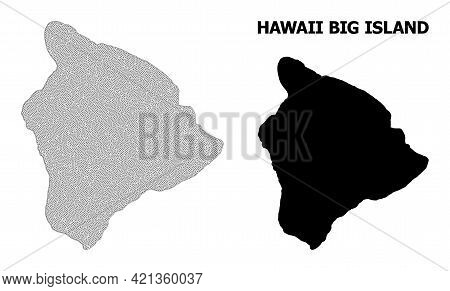 Polygonal Mesh Map Of Hawaii Big Island In High Detail Resolution. Mesh Lines, Triangles And Dots Fo