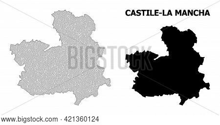 Polygonal Mesh Map Of Castile-la Mancha Province In High Detail Resolution. Mesh Lines, Triangles An