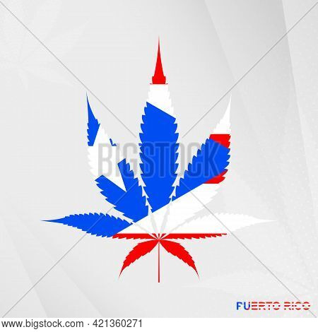 Flag Of Puerto Rico In Marijuana Leaf Shape. The Concept Of Legalization Cannabis In Puerto Rico. Me