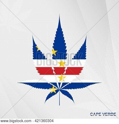 Flag Of Cape Verde In Marijuana Leaf Shape. The Concept Of Legalization Cannabis In Cape Verde. Medi