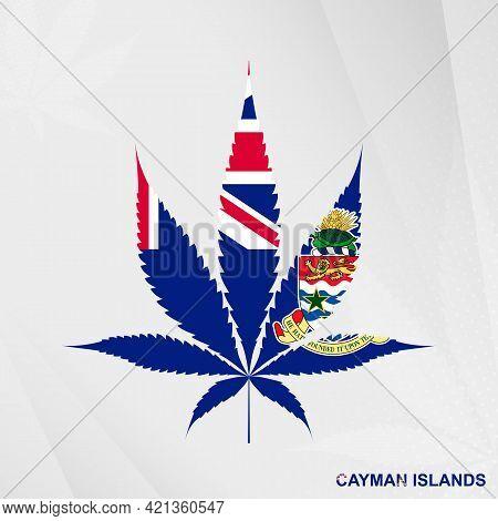 Flag Of Cayman Islands In Marijuana Leaf Shape. The Concept Of Legalization Cannabis In Cayman Islan