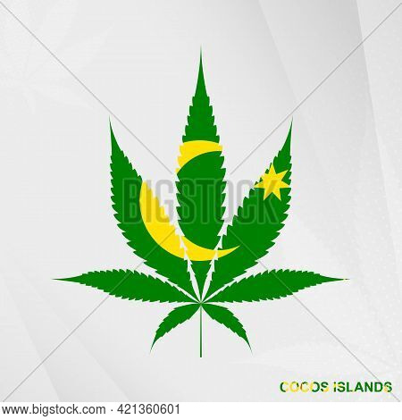 Flag Of Cocos Islands In Marijuana Leaf Shape. The Concept Of Legalization Cannabis In Cocos Islands