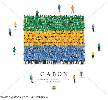 A Large Group Of People Are Standing In Green, Yellow And Blue Robes, Symbolizing The Flag Of Gabon.