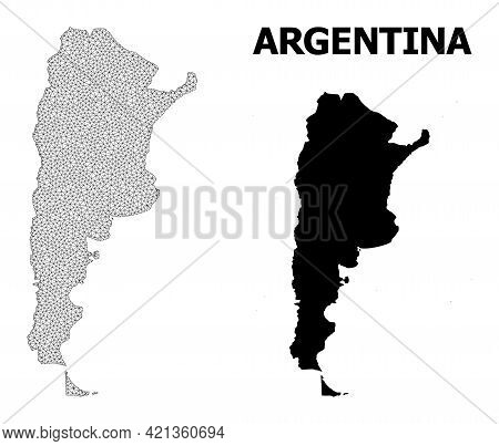Polygonal Mesh Map Of Argentina In High Resolution. Mesh Lines, Triangles And Points Form Map Of Arg