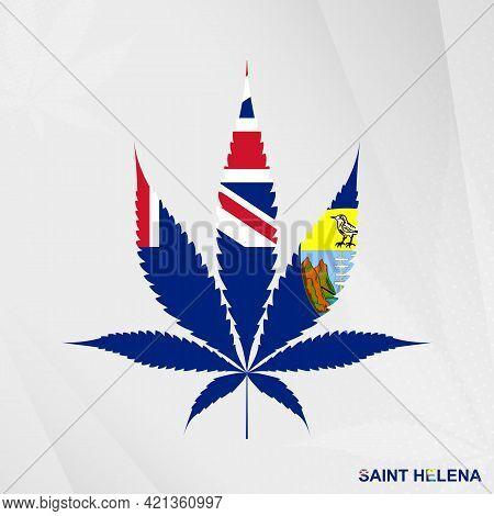 Flag Of Saint Helena In Marijuana Leaf Shape. The Concept Of Legalization Cannabis In Saint Helena.
