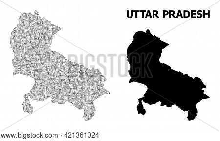 Polygonal Mesh Map Of Uttar Pradesh State In High Resolution. Mesh Lines, Triangles And Points Form