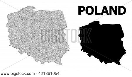 Polygonal Mesh Map Of Poland In High Detail Resolution. Mesh Lines, Triangles And Points Form Map Of