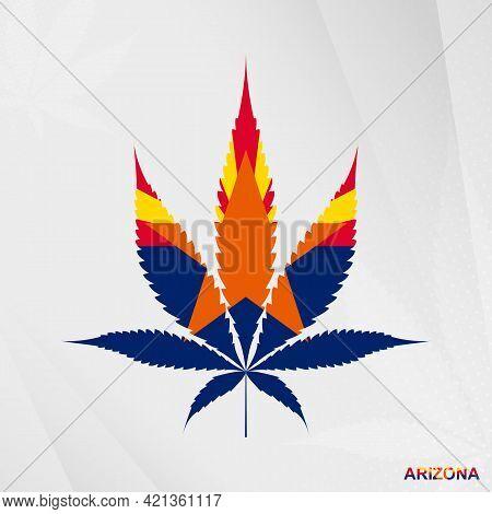 Flag Of Arizona In Marijuana Leaf Shape. The Concept Of Legalization Cannabis In Arizona. Medical Ca