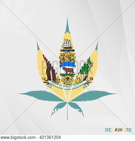 Flag Of Delaware In Marijuana Leaf Shape. The Concept Of Legalization Cannabis In Delaware. Medical