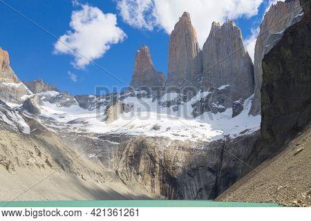 Base Las Torres Viewpoint, Torres Del Paine, Chile. Chilean Patagonia Landscape.
