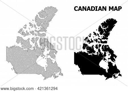 Polygonal Mesh Map Of Canada In High Resolution. Mesh Lines, Triangles And Dots Form Map Of Canada.