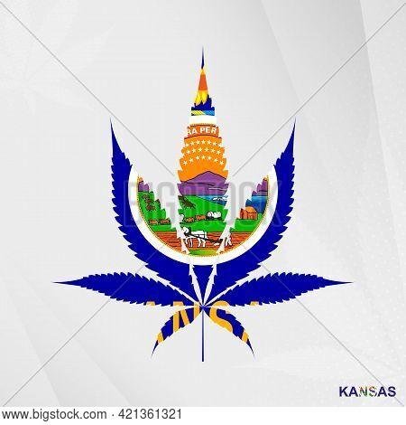 Flag Of Kansas In Marijuana Leaf Shape. The Concept Of Legalization Cannabis In Kansas. Medical Cann