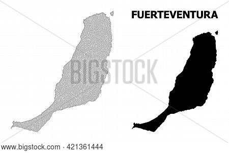 Polygonal Mesh Map Of Fuerteventura Island In High Detail Resolution. Mesh Lines, Triangles And Dots
