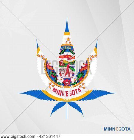 Flag Of Minnesota In Marijuana Leaf Shape. The Concept Of Legalization Cannabis In Minnesota. Medica