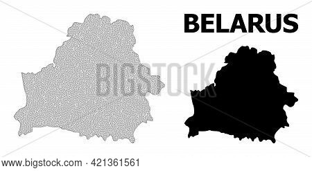 Polygonal Mesh Map Of Belarus In High Resolution. Mesh Lines, Triangles And Dots Form Map Of Belarus