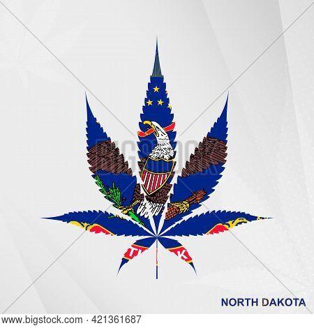 Flag Of North Dakota In Marijuana Leaf Shape. The Concept Of Legalization Cannabis In North Dakota.