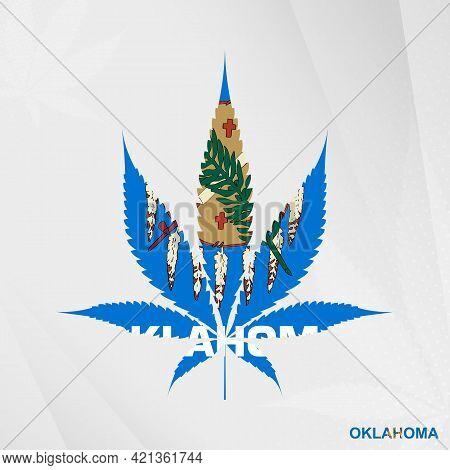 Flag Of Oklahoma In Marijuana Leaf Shape. The Concept Of Legalization Cannabis In Oklahoma. Medical
