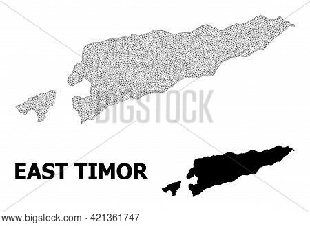 Polygonal Mesh Map Of East Timor In High Detail Resolution. Mesh Lines, Triangles And Points Form Ma