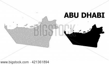 Polygonal Mesh Map Of Abu Dhabi Emirate In High Resolution. Mesh Lines, Triangles And Dots Form Map