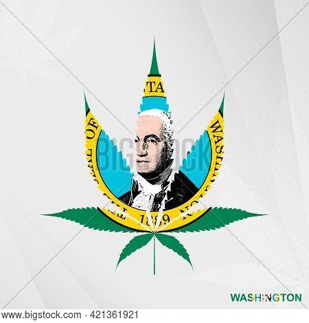 Flag Of Washington In Marijuana Leaf Shape. The Concept Of Legalization Cannabis In Washington. Medi