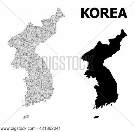 Polygonal Mesh Map Of Korea In High Resolution. Mesh Lines, Triangles And Dots Form Map Of Korea. Hi