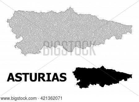 Polygonal Mesh Map Of Asturias Province In High Resolution. Mesh Lines, Triangles And Dots Form Map