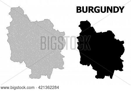 Polygonal Mesh Map Of Burgundy Province In High Resolution. Mesh Lines, Triangles And Dots Form Map