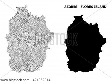 Polygonal Mesh Map Of Azores - Flores Island In High Resolution. Mesh Lines, Triangles And Points Fo