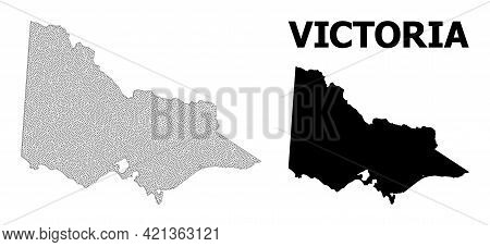 Polygonal Mesh Map Of Australian Victoria In High Detail Resolution. Mesh Lines, Triangles And Dots