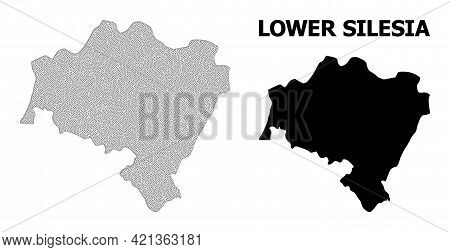 Polygonal Mesh Map Of Lower Silesia Province In High Detail Resolution. Mesh Lines, Triangles And Do