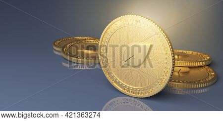 An Illustration Of The Chinese Cryptocurrency Chia Coin. A Banner With A Digital Currency. 3d Render
