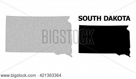 Polygonal Mesh Map Of South Dakota State In High Detail Resolution. Mesh Lines, Triangles And Points