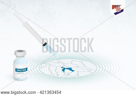Covid-19 Vaccination In Croatia, Coronavirus Vaccination Illustration With Vaccine Bottle And Syring