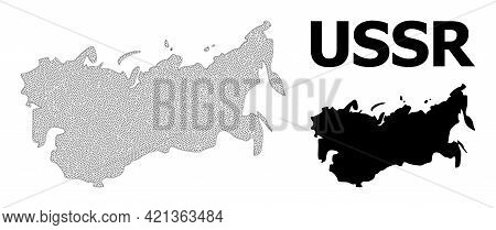 Polygonal Mesh Map Of Ussr In High Resolution. Mesh Lines, Triangles And Points Form Map Of Ussr. Hi