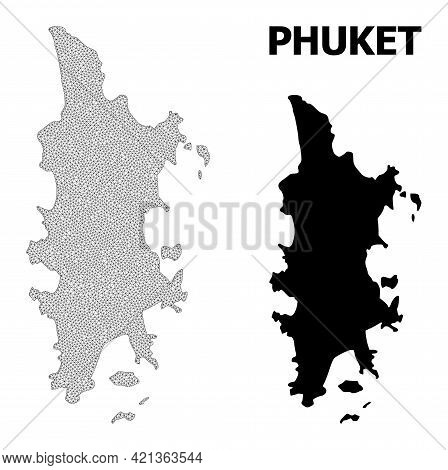 Polygonal Mesh Map Of Phuket In High Detail Resolution. Mesh Lines, Triangles And Dots Form Map Of P