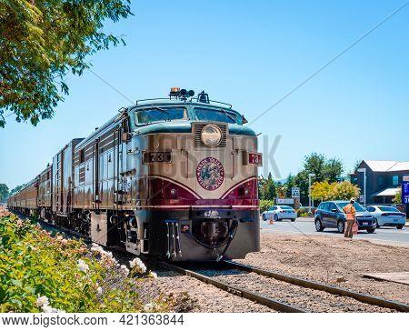 Napa, Ca / Usa - July 15, 2015: The Napa Valley Wine Train. It's A Privately-operated Excursion Trai