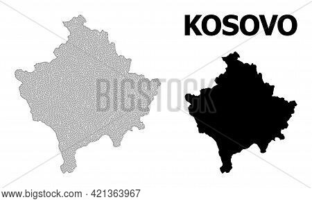 Polygonal Mesh Map Of Kosovo In High Detail Resolution. Mesh Lines, Triangles And Dots Form Map Of K