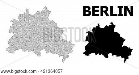 Polygonal Mesh Map Of Berlin City In High Detail Resolution. Mesh Lines, Triangles And Points Form M