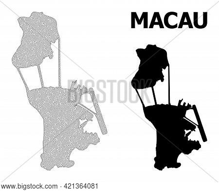 Polygonal Mesh Map Of Macau In High Detail Resolution. Mesh Lines, Triangles And Points Form Map Of