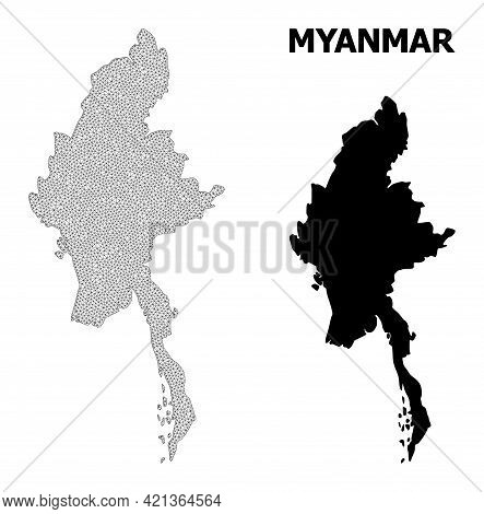 Polygonal Mesh Map Of Myanmar In High Detail Resolution. Mesh Lines, Triangles And Dots Form Map Of