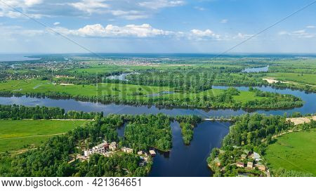 Aerial View Of Desna River In Spring, Beautiful Nature Landscape Near Kyiv, Ukraine