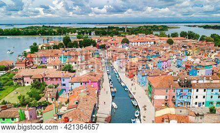 Aerial View Of Colorful Burano Island Houses In Venetian Lagoon Sea From Above, Italy