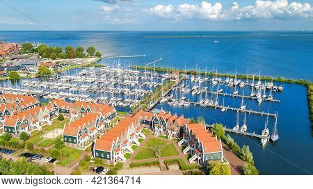 Aerial Drone View Of Typical Modern Dutch Houses And Marina In Harbor From Above, Architecture Of Po