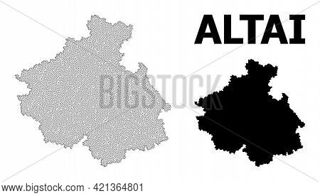 Polygonal Mesh Map Of Altai Republic In High Detail Resolution. Mesh Lines, Triangles And Points For