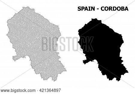 Polygonal Mesh Map Of Cordoba Spanish Province In High Resolution. Mesh Lines, Triangles And Dots Fo