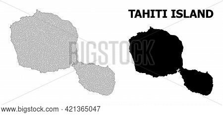 Polygonal Mesh Map Of Tahiti Island In High Resolution. Mesh Lines, Triangles And Points Form Map Of