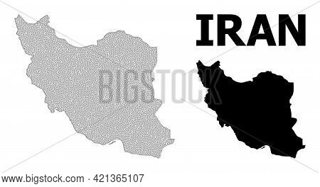 Polygonal Mesh Map Of Iran In High Detail Resolution. Mesh Lines, Triangles And Dots Form Map Of Ira