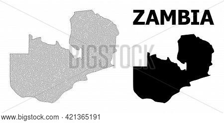 Polygonal Mesh Map Of Zambia In High Detail Resolution. Mesh Lines, Triangles And Points Form Map Of