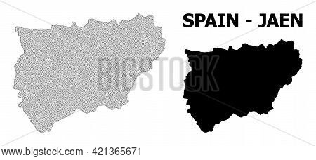 Polygonal Mesh Map Of Jaen Spanish Province In High Resolution. Mesh Lines, Triangles And Dots Form